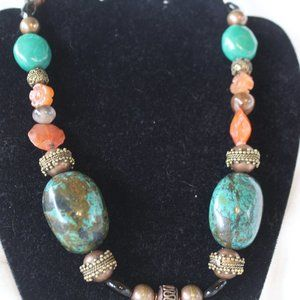 """Natural Copper and Turquoise 19"""" Necklace NWOT"""